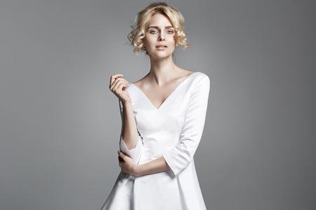 Photo pour Portrait of a delicate blond woman - image libre de droit