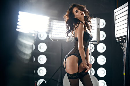 Photo for Sensual young lady wearing sexy, black lingerie - Royalty Free Image