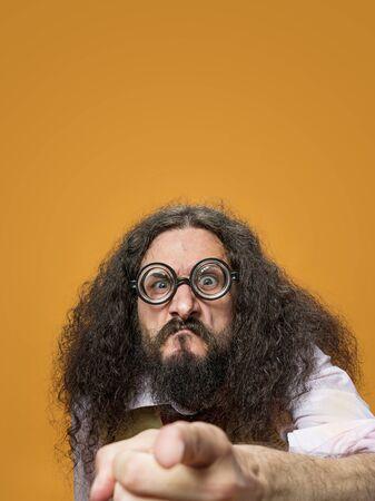 Foto de Cloesup portrait of a skinny, freaky nerd - Imagen libre de derechos