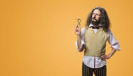 Foto de Portrait of a joyful, odd inventor - Imagen libre de derechos