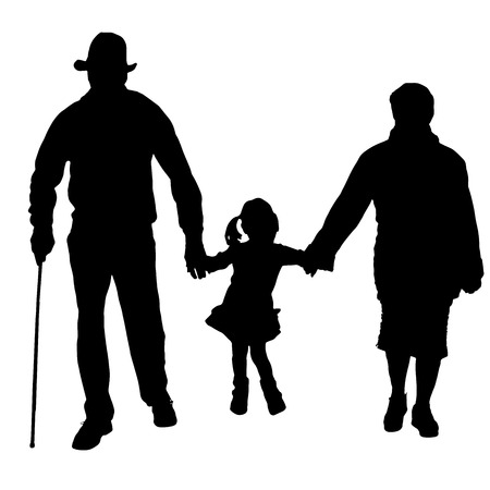Illustration for Vector silhouette of old people with a child on a white background.  - Royalty Free Image