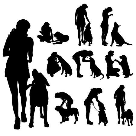Illustration pour Vector silhouette of a woman with a dog. - image libre de droit