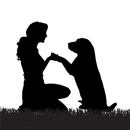 Ilustración de Vector silhouette of a woman with a dog on a walk. - Imagen libre de derechos