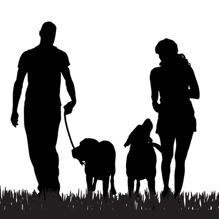 Illustration pour Vector silhouette of a family with a dog for a walk. - image libre de droit