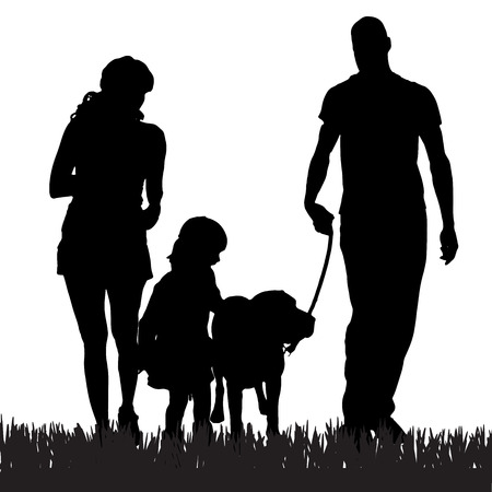 Photo pour Vector silhouette of a family with a dog for a walk. - image libre de droit
