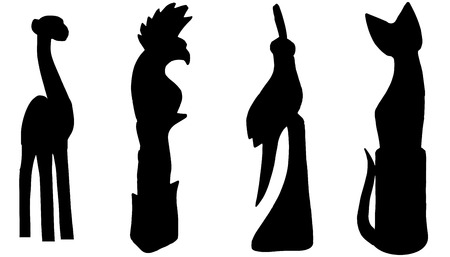 Vector silhouettes of various animals on white background.