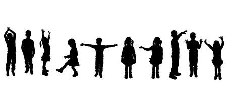 Ilustración de Vector silhouette of children on a white background. - Imagen libre de derechos