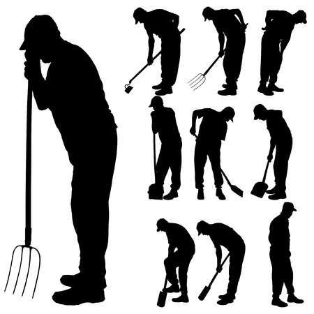 Illustration for Vector silhouette of a man with garden tools. - Royalty Free Image