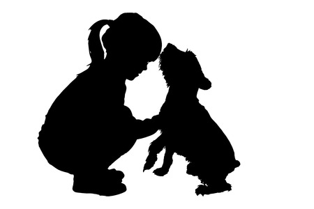 Illustration pour silhouette of child with dog on a white background. - image libre de droit