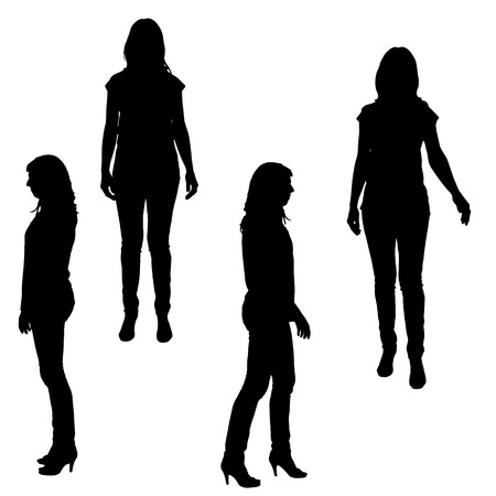 Ilustración de Vector silhouette of a woman on a white background.  - Imagen libre de derechos