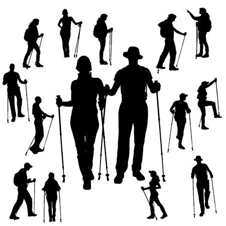 Ilustración de Vector silhouette of people with Nordic walking. - Imagen libre de derechos