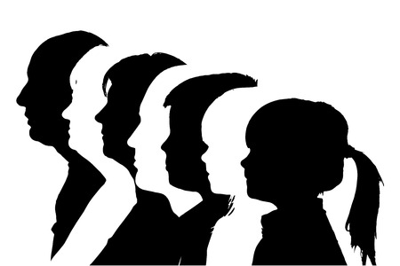 Illustration for silhouettes family in profile on white background. - Royalty Free Image