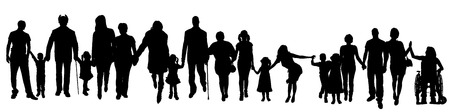 Illustration pour Vector silhouette of a group of people who are holding hands. - image libre de droit