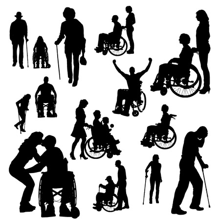 Illustration pour Vector silhouette of people with disabilities a white background. - image libre de droit
