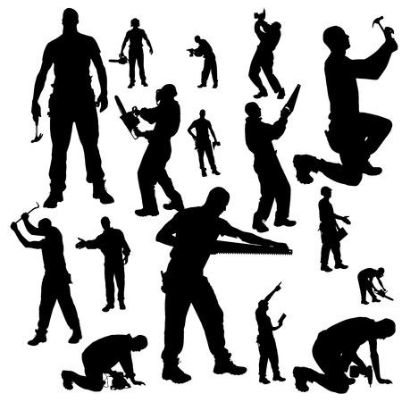 Illustration pour Vector silhouette of a worker on a white background. - image libre de droit