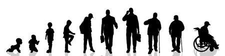 Illustration pour Vector silhouette of man as generation progresses. - image libre de droit
