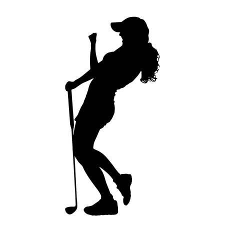 Illustration pour Vector silhouette of the woman who plays golf. - image libre de droit