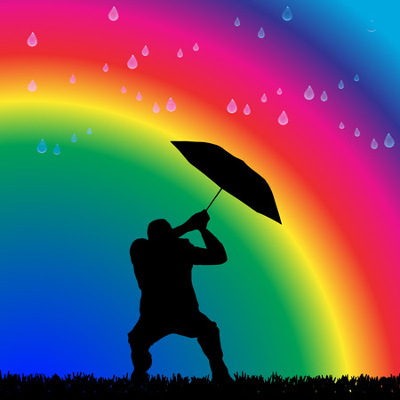 Vector silhouette of a man in the rain on a rainbow background.