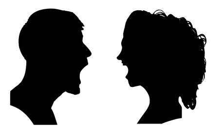 Illustration pour Vector silhouette of a couple on a white background. - image libre de droit