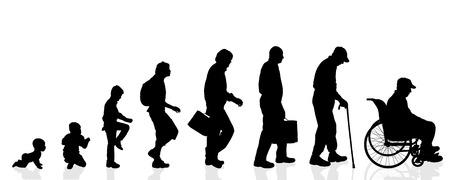 Illustration pour Vector silhouette generation men on a white background. - image libre de droit