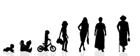 Illustration pour Vector silhouette generation women on a white background. - image libre de droit