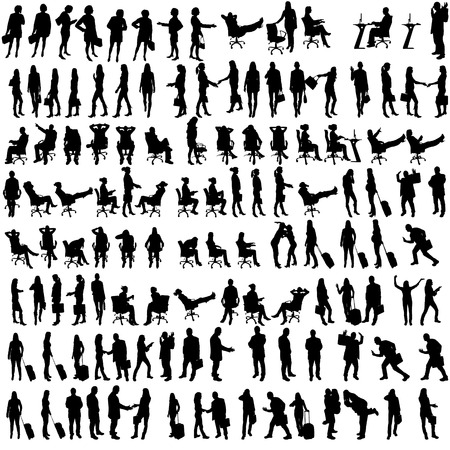 Ilustración de Vector silhouettes of people in set on a white background. - Imagen libre de derechos