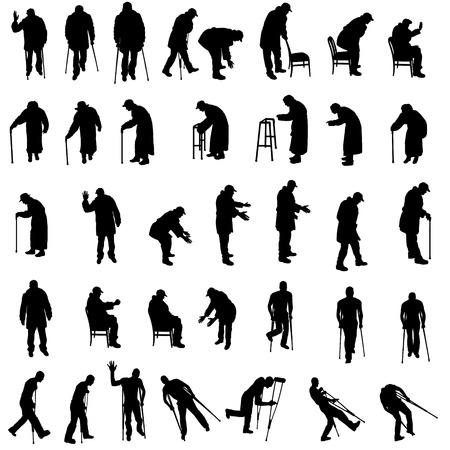 Ilustración de Vector silhouette of old people on white background. - Imagen libre de derechos