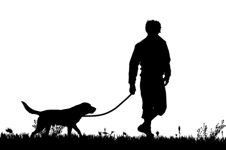 Illustration pour Vector silhouette of a man with a dog on a meadow. - image libre de droit