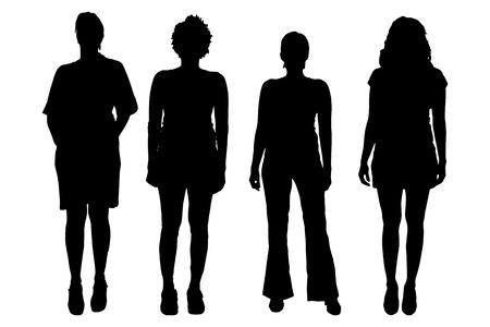 Illustration pour Vector women silhouette on a white background. - image libre de droit