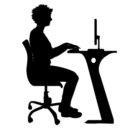 Illustration pour Vector silhouette of a woman who sits in the office. - image libre de droit