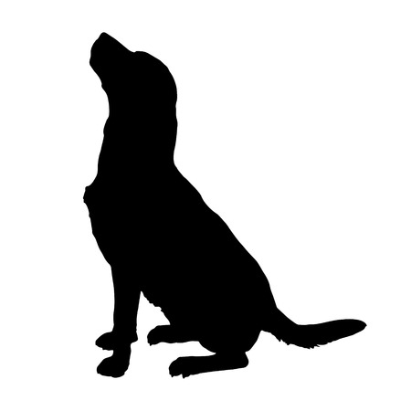 Illustration for Vector silhouette of a dog on a white background. - Royalty Free Image