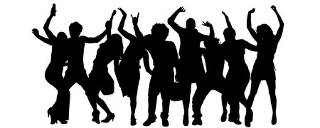 Illustration pour Vector silhouette of a group of people on a white background. - image libre de droit