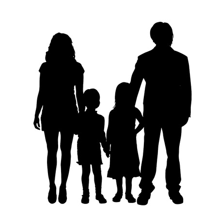 Photo for Vector family silhouette on a white background. - Royalty Free Image