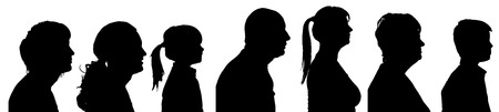Illustration pour Vector silhouette profile of people on a white background. - image libre de droit