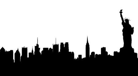 Illustration for Vector silhouette of New York on white background. - Royalty Free Image