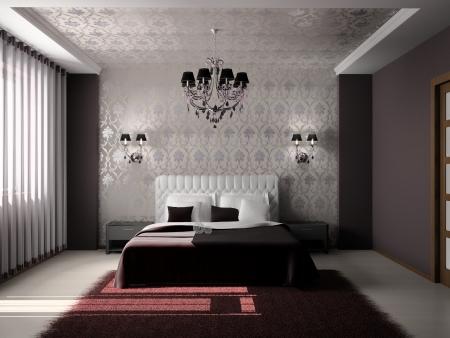 Foto de Modern interior of a bedroom room 3D - Imagen libre de derechos