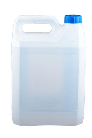 Foto de Plastic canister on white background - Imagen libre de derechos