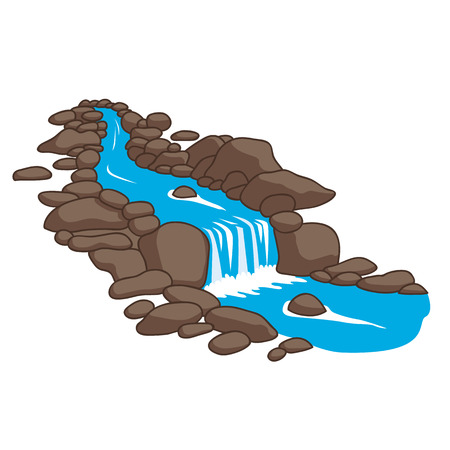 Ilustración de Blue river flowing down stream across a stones. Isolated on white background. Vector illustration. - Imagen libre de derechos