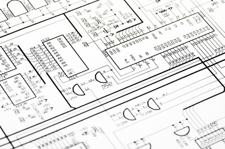 Photo pour Detailed technical drawing with a lot of calculations  - image libre de droit