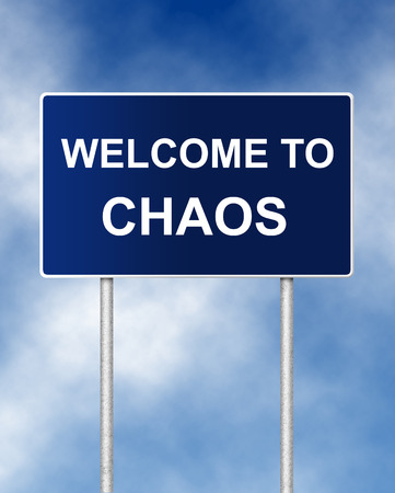Photo pour The road sign symbol with text Welcome to chaos - image libre de droit