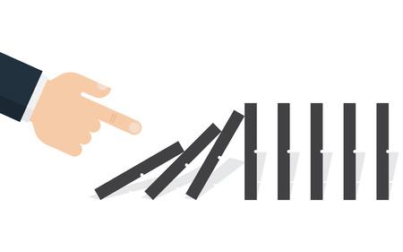 Ilustración de Hand pushing the domino. Domino effect. Vector illustration. Flat design - Imagen libre de derechos