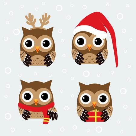 Ilustración de Christmas pattern with cute owls in hat, scarve and reindeer antlers, set with funny owls - Imagen libre de derechos
