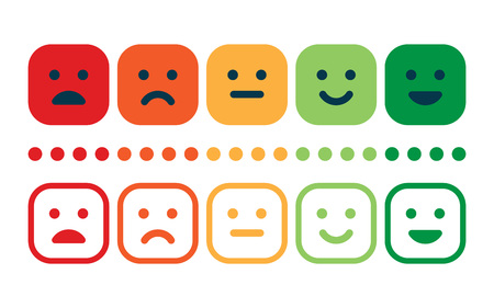 Photo pour Rating satisfaction. Feedback in form of emotions. Excellent, good, normal, bad awful Vector illustration - image libre de droit