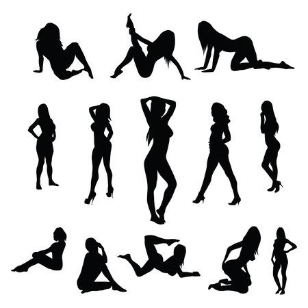 Illustration pour Sexy female poses - vector - image libre de droit
