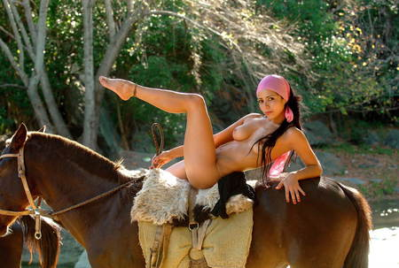 Photo pour Beautiful naked brunette girl on a horse - image libre de droit