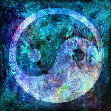 Photo for yin and yang symbol on background grunge - Royalty Free Image