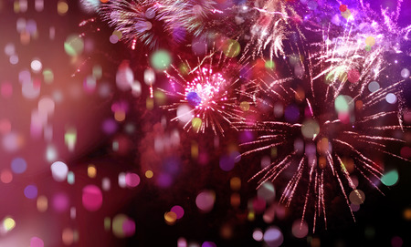 Photo pour stars and lights pattern of bright sparkling colorful fireworks with colorful stars, confetti and circle shapes added - image libre de droit