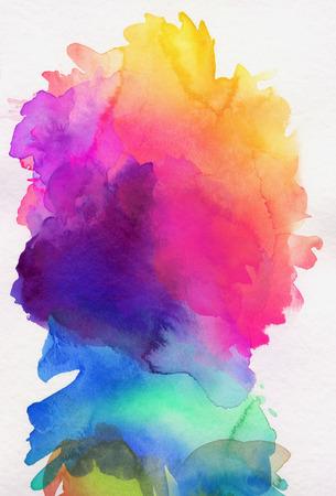 Foto de bright rainbow colored watercolor paints on white paper - Imagen libre de derechos