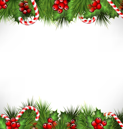Illustration pour holly sprigs with pine branches and candy canes isolated on white background - image libre de droit