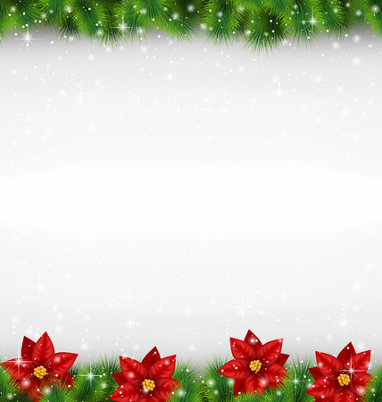 Ilustración de Shiny green pine branches like frame with flower of poinsettia in snowfall on grayscale background - Imagen libre de derechos